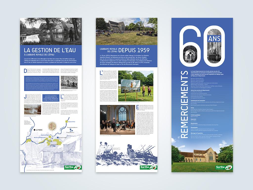 Agence de communication A Tribu Le Mans 72 Sarthe Pays-de-la-Loire — Abbaye Royale de l'Épau kakemono exposition 60 ans