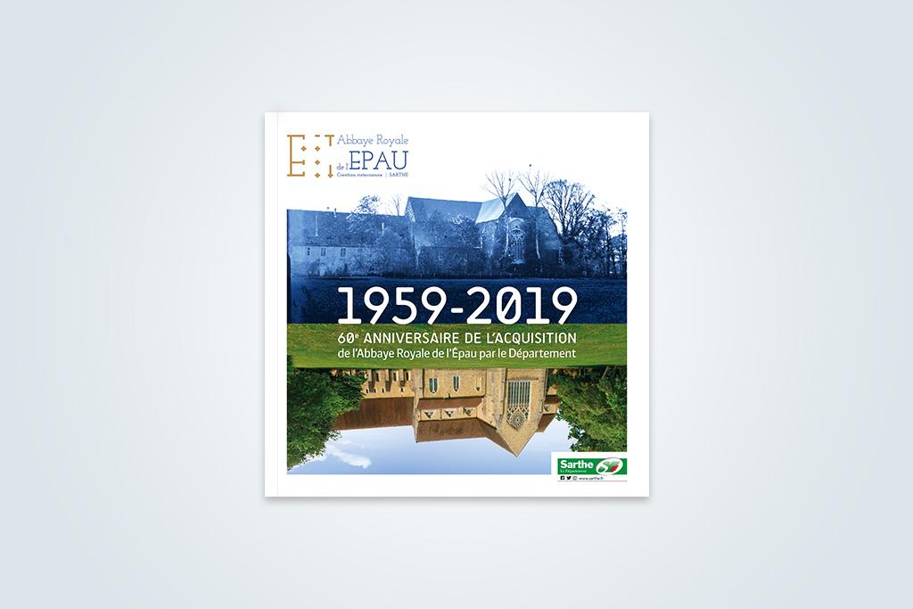 Agence de communication A Tribu Le Mans 72 Sarthe Pays-de-la-Loire — Abbaye Royale de l'Épau livret exposition 60 ans