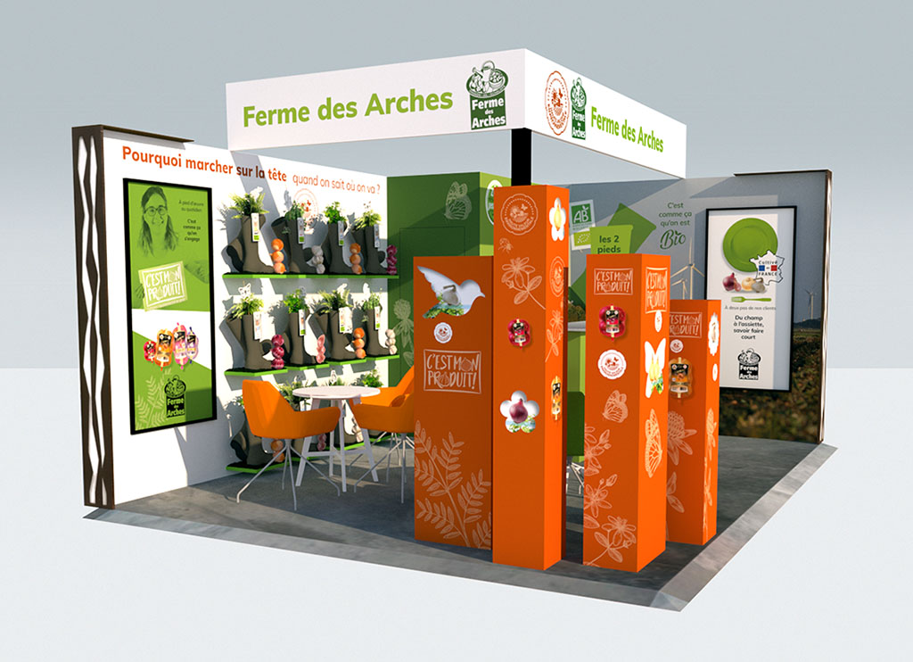 Agence de communication A Tribu Le Mans 72 Sarthe Pays-de-la-Loire — Fermes des Arches, stand Salon Fruit Logistica Berlin