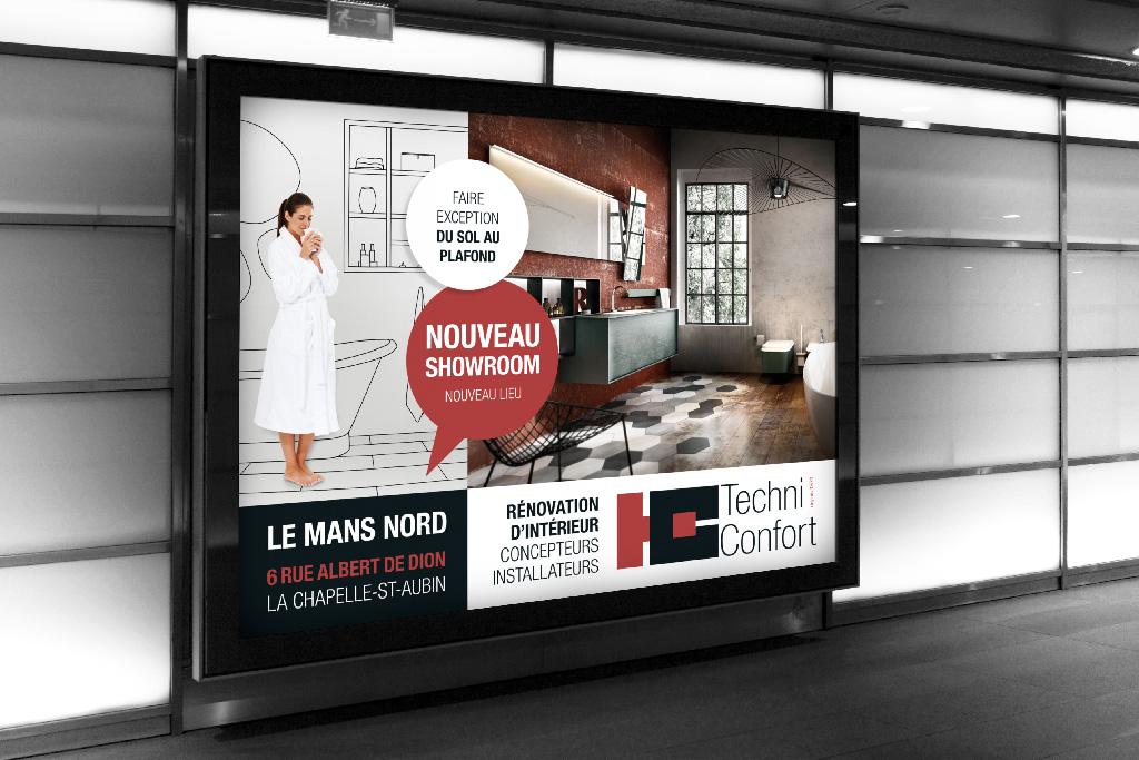 Agence de communication A Tribu Le Mans 72 Sarthe Pays-de-la-Loire — Techni Confort affiche nouveau show room 2019