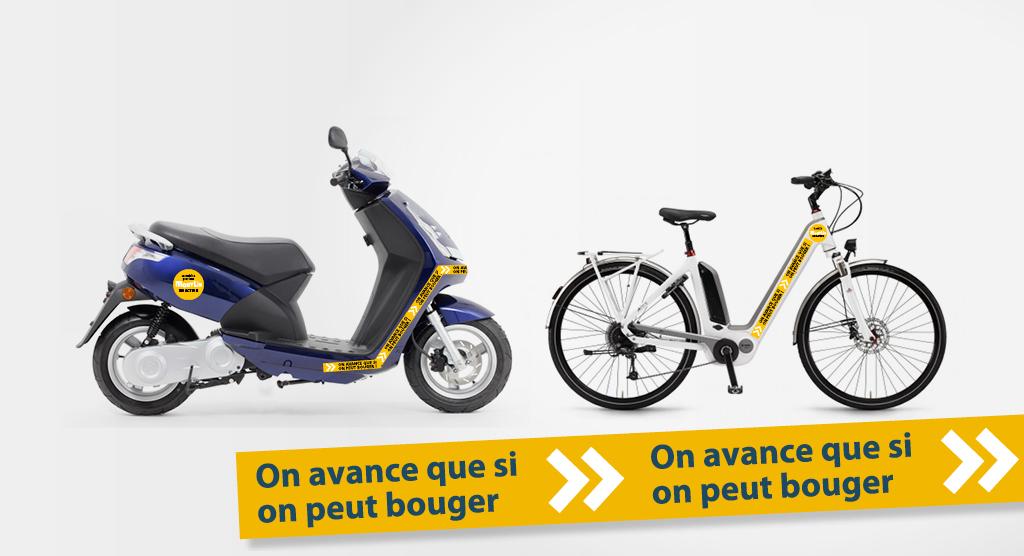 Exemple de la signalétique créée pour identifier les véhicules Mobylis posée sur un vélo et un scooter. Bandes adhésives avec le slogan «on avance que si on peut bouger» et cercles adhésifs avec inscription «la Mobilité pour tous, Mobylis en action».