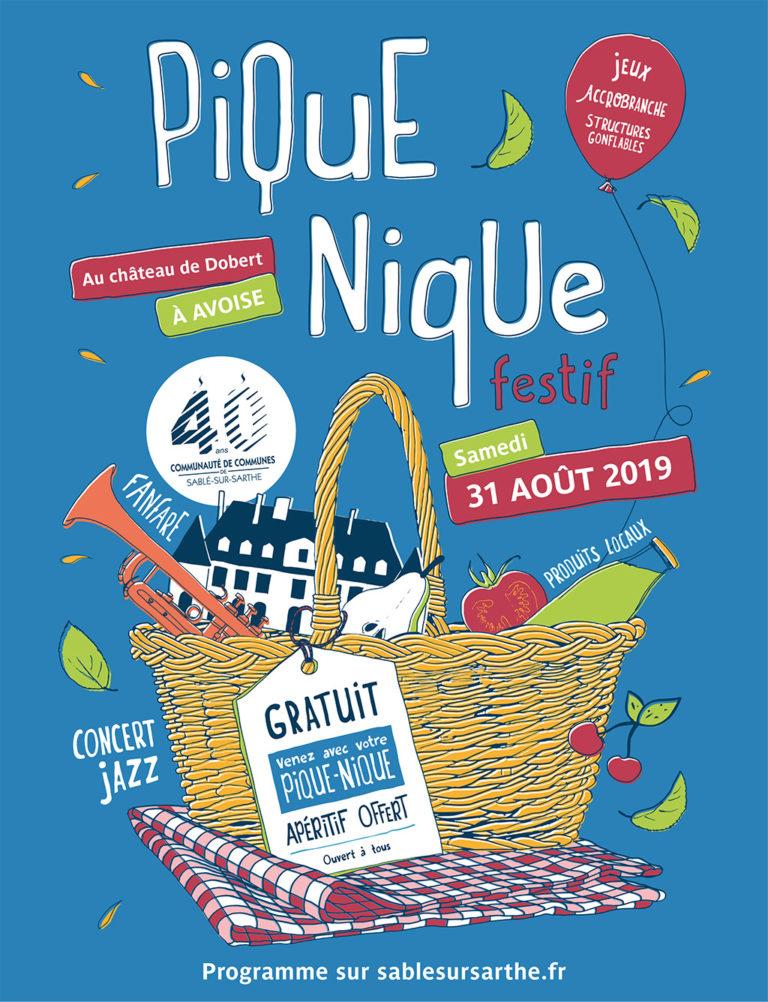Agence de communication A Tribu Le Mans 72 Sarthe Pays-de-la-Loire — Communauté de Communes de Sablé-sur-Sarthe pique nique 2019 affiche