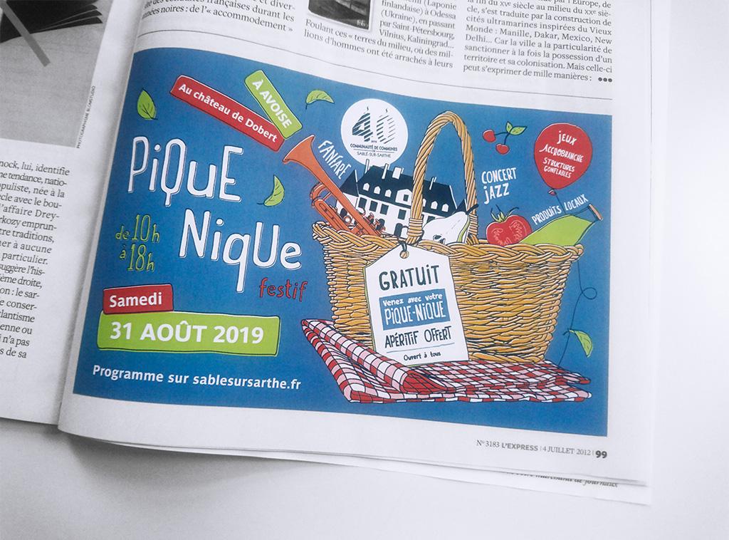Agence de communication A Tribu Le Mans 72 Sarthe Pays-de-la-Loire — Communauté de Communes de Sablé-sur-Sarthe pique nique 2019 encart presse