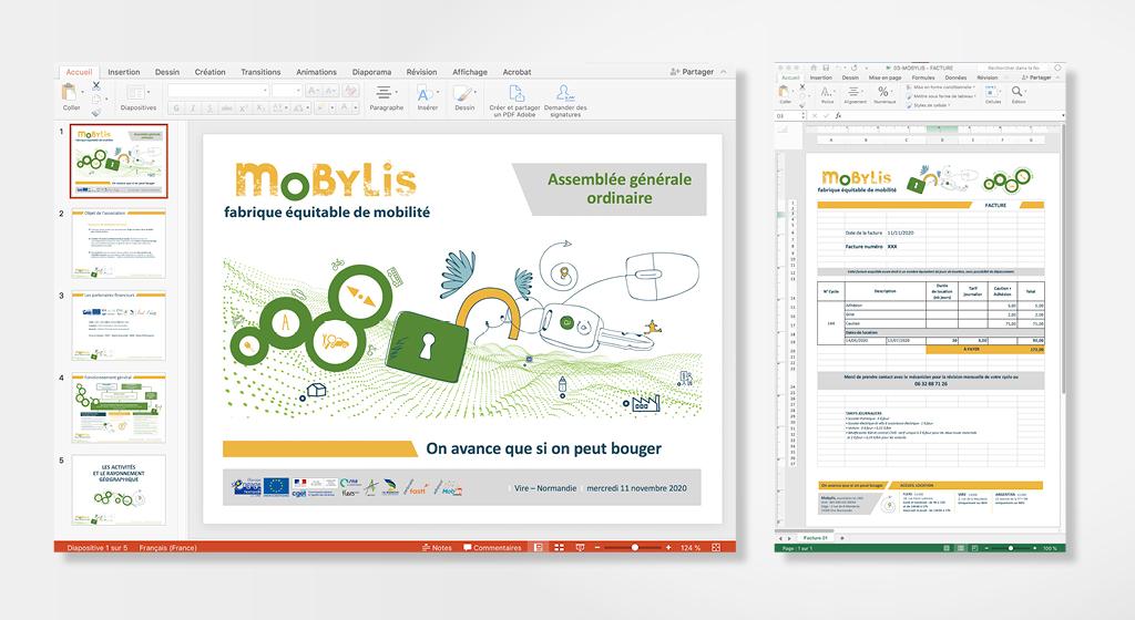 Aperçu de la charte graphique pour les outils bureautique de Mobylis. Capture d'écran du gabarit power-point et du gabarit Excel réalisés par l'agence A tribu.