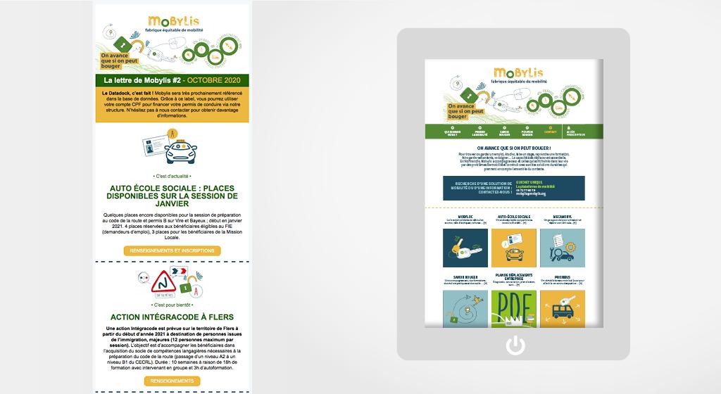 Aperçu de la news-letter web et de la charte graphique du site internet de Mobylis