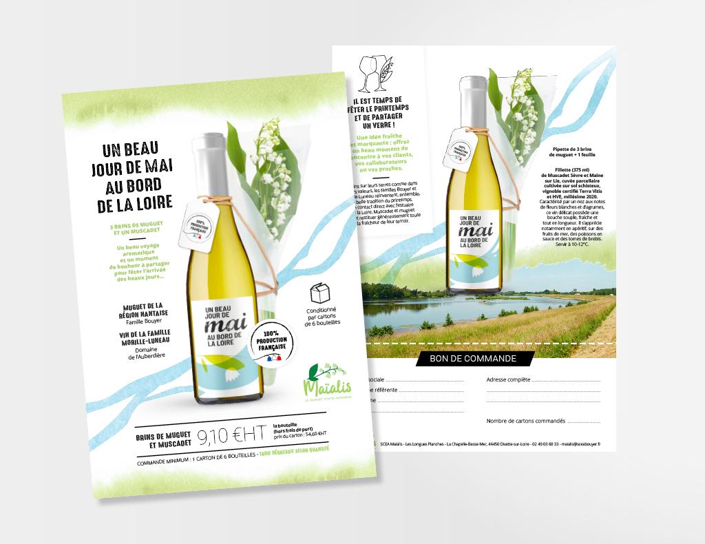 Documents marketing et prospection pour l'opération vin et muguet. « 3 brins de muguet et un muscadet, un beau voyage aromatique et un moment de bonheur à partager pour fêter l'arrivée des beaux jours...»